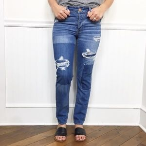American Eagle | Distressed Tomgirl Patched Jeans